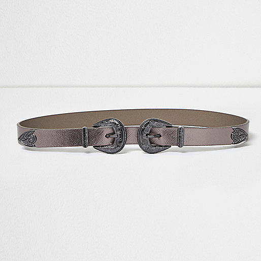 Metallic grey double buckle Western belt