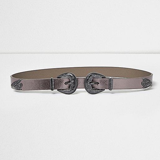 Western-Gürtel in Grau-Metallic mit Doppelschnalle