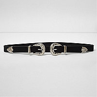 Black double buckle Western belt