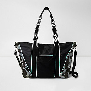 RI Black camo trim gym tote bag
