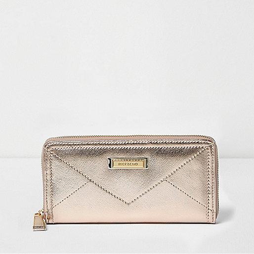 Gold metallic zip purse