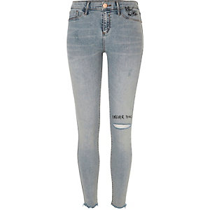 Light wash slogan ripped Molly jeggings