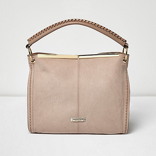 Pink panel whipstitch slouch bag