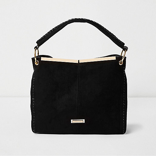 Black panel whipstitch slouch bag
