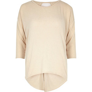 Cream knitted open twist back top