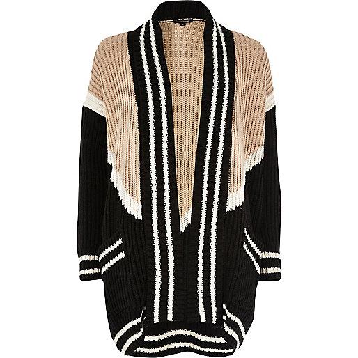 Black block print shawl neck cardigan