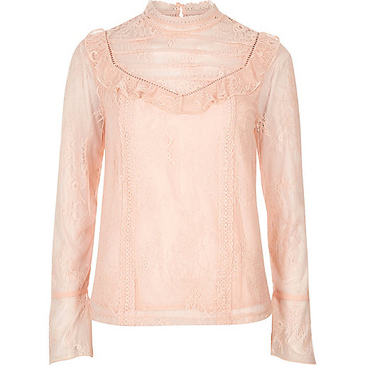 Pink lace frill flared sleeve top