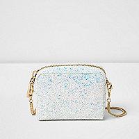 White glitter cross body bag