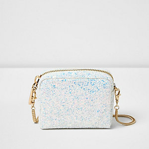 White glitter cross body bag