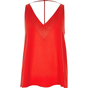 Bright red sleeveless T-bar cami