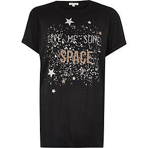 Black glitter print boyfriend T-shirt