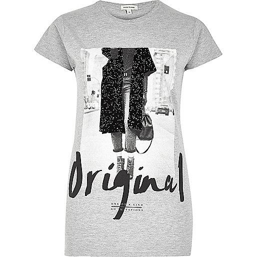 "Graues T-Shirt mit ""Original Girl""-Print"