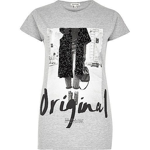 Grey 'Original Girl' print T-shirt