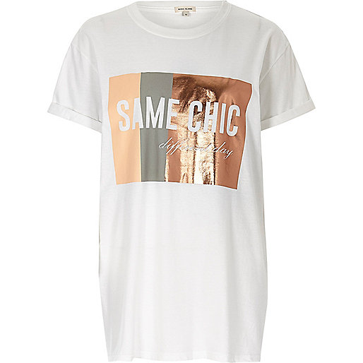 White New York print boyfriend t-shirt