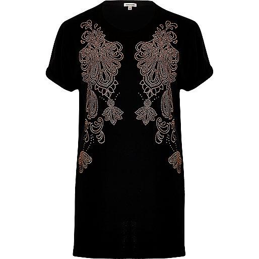 T-shirt boyfriend clouté noir