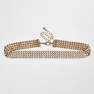 Gold tone gem encrusted choker