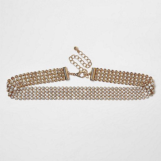 Goldene Halskette mit Schmucksteinen