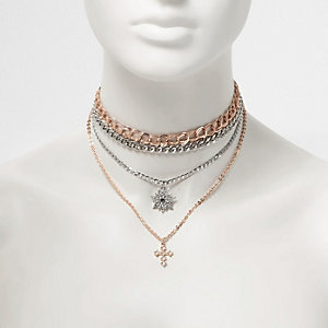 Rose gold tone layered chain chokers