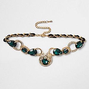 Gold tone gem encrusted choker necklace