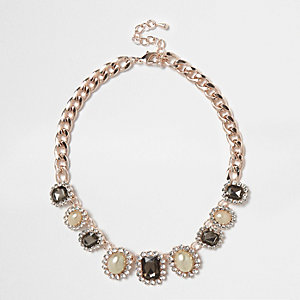 Rose gold tone pearl statement necklace