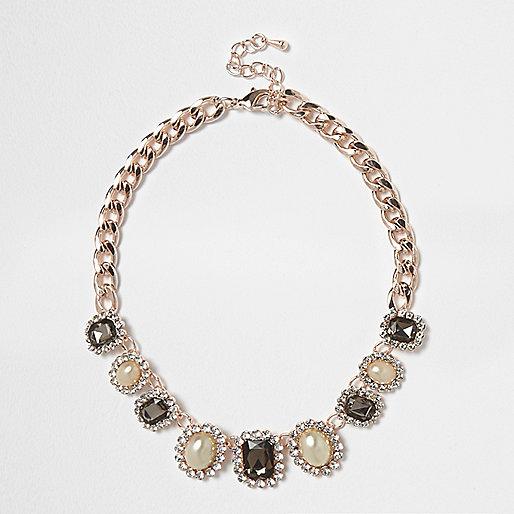 Rose gold tone pearl choker