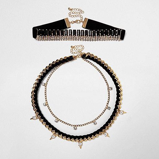 Black and gold tone statement choker necklace