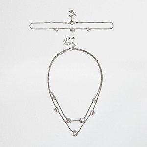SIlver tone circle diamanté layered necklace