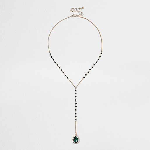 Gold tone rosary emerald necklace