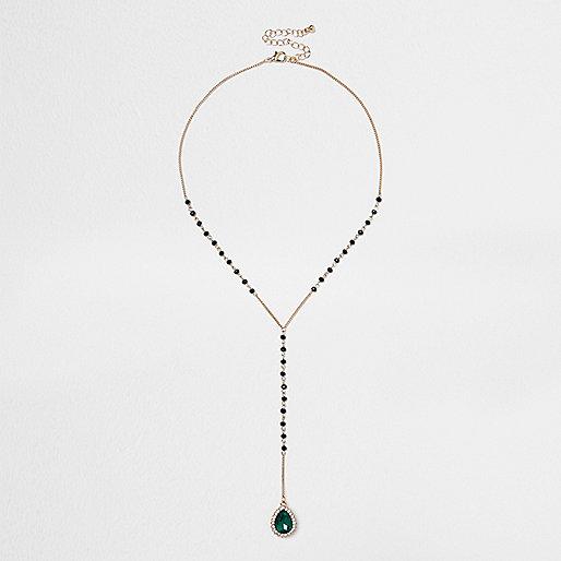 Smaragdgrüne Rosenkranz-Halskette in Gold