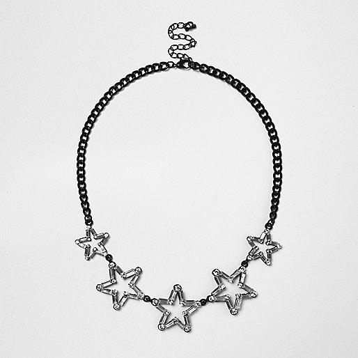 Black star statement necklace