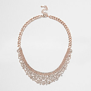 Rose gold diamanté pave necklace