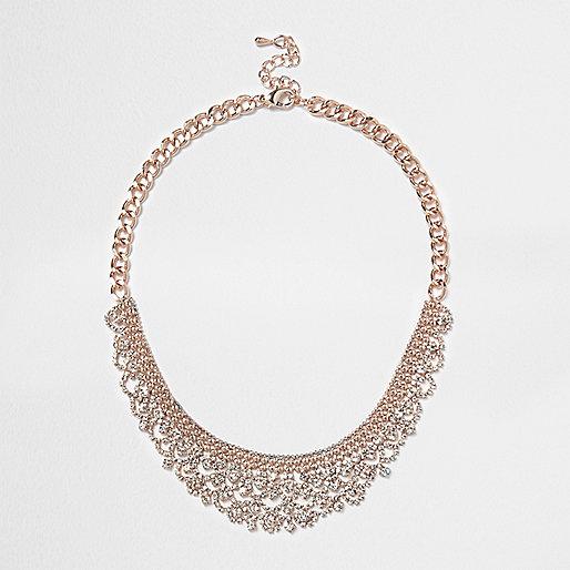 Rose gold diamanté pave necklace