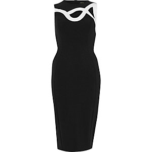 Black swirly bodycon dress