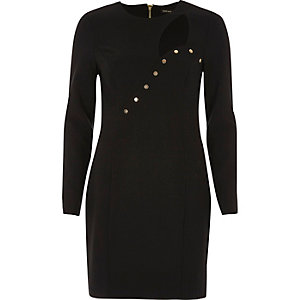 Black button cut-out bodycon dress
