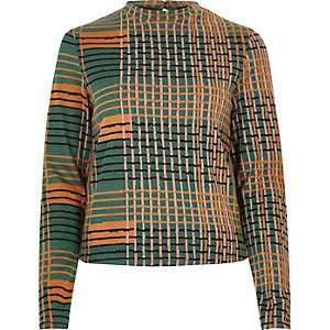 Orange print jacquard turtleneck top