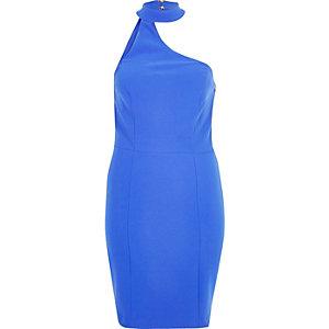 Blue one shoulder choker dress