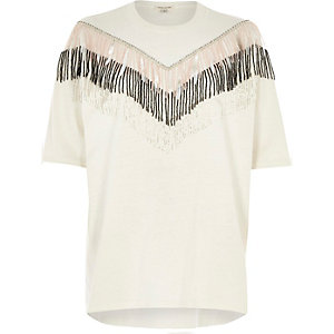 White embellished fringe oversized T-shirt
