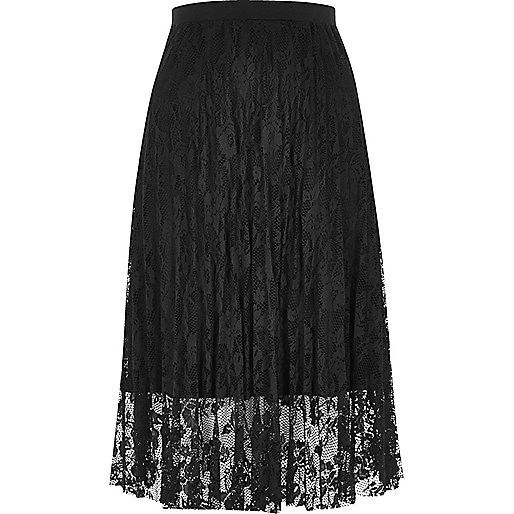Black pleated lace midi skirt