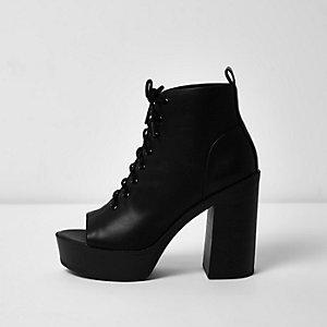 Black lace-up platform heel shoe boots