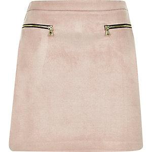 Mini-jupe zippée rose clair