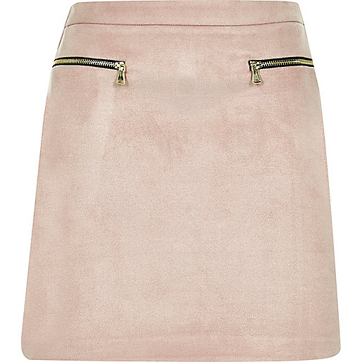 Light pink zip mini skirt