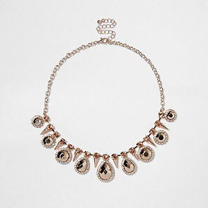 Rose gold tone statement gem choker necklace