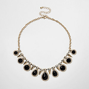 Gold tone gem statement choker necklace