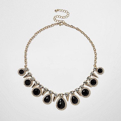 Gold tone gem statement choker necklace
