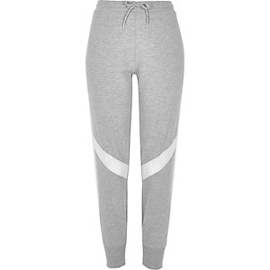 Grey mesh panel jersey joggers