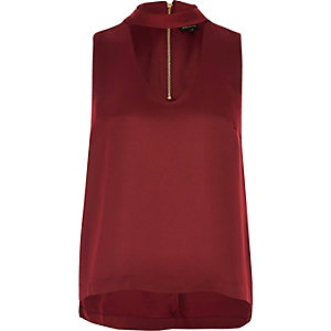 Dark red sleeveless choker neck top