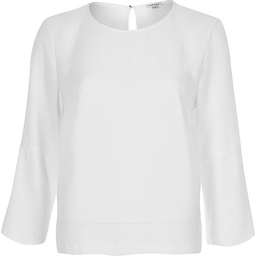 White button sleeve top