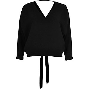 Black tied batwing top
