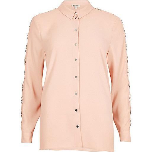Light pink embellished sleeve shirt