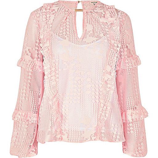 Blush pink lace frill blouse